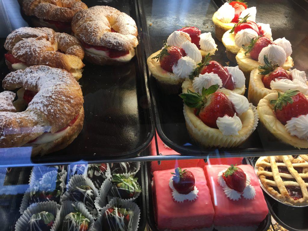 Pastries in bakery case