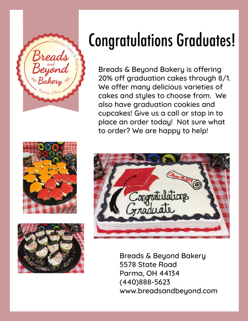 Graduation cakes 20% off flyer