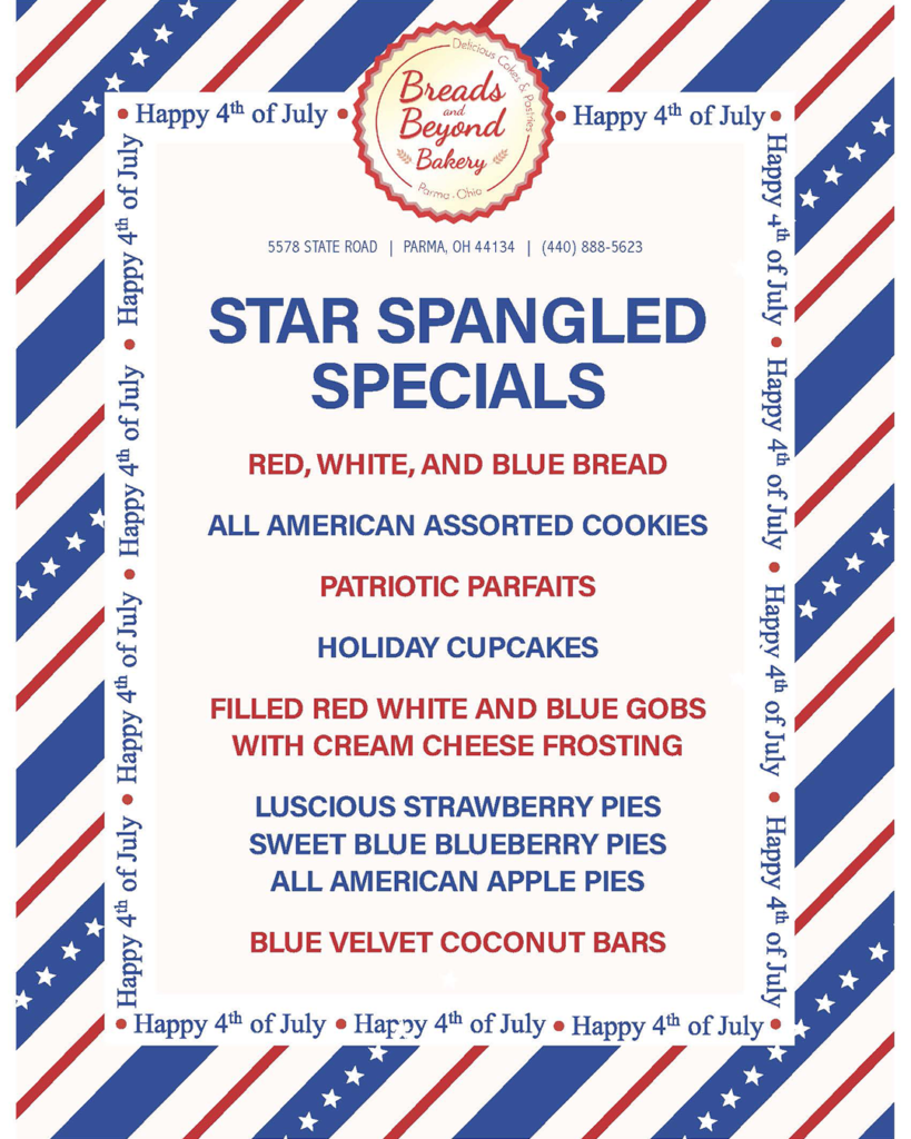 July 4th Menu Specials