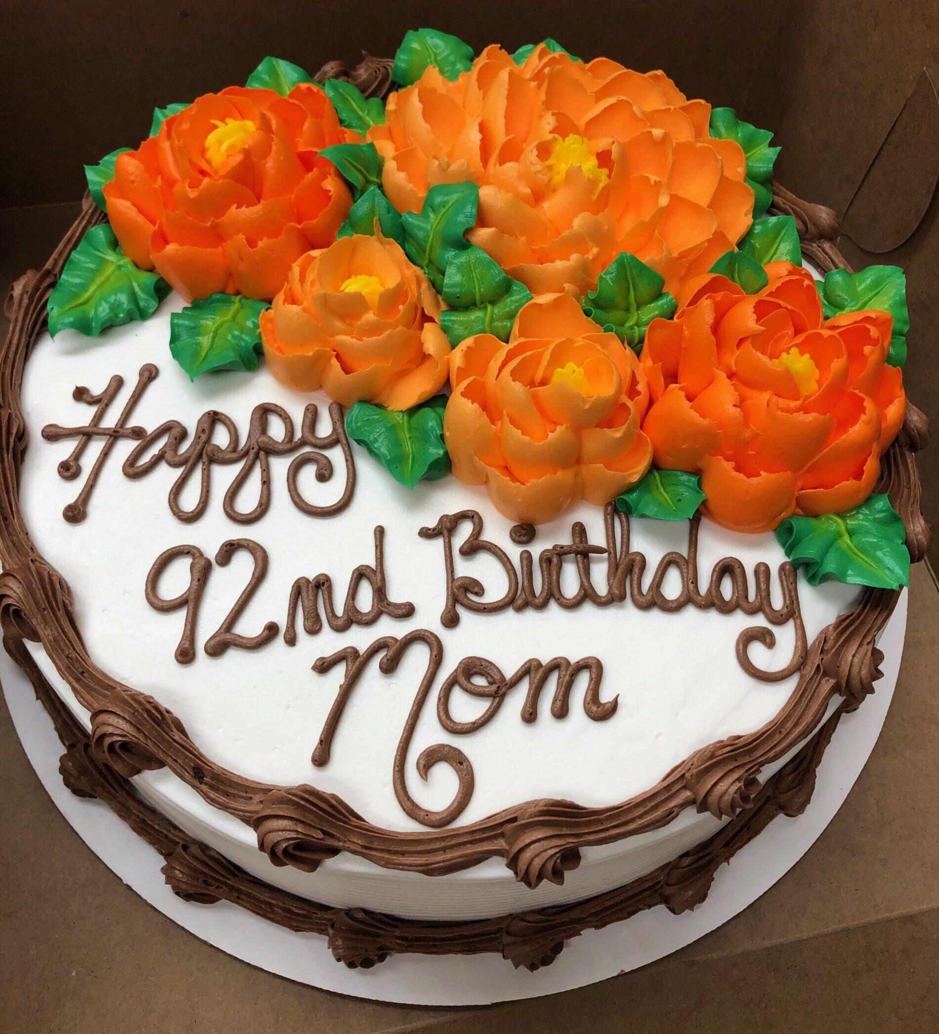 Happy 92nd Birthday Cake with Orange flowers