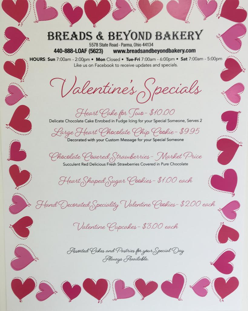 Valentines Day Specials Menu