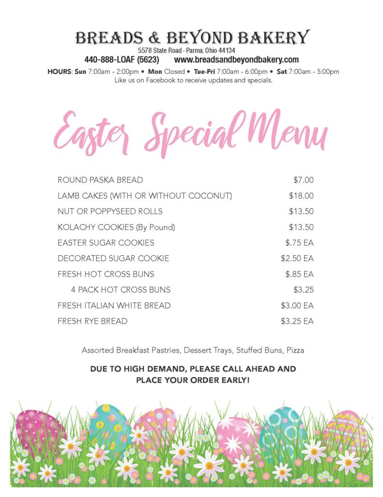 Breads and Beyond Bakery Easter Menu
